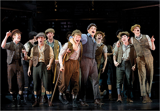 In this theater image released by Disney Theatricals, the cast of The Paper Mill Playhouse Production of 'Newsies,' starring Jeremy Jordan, center right, is shown in New York. The production The production is nominated for best musical at the Tony Awards, airing Sunday, June 10 on CBS.