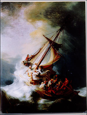 Rembrandt, The Storm on the Sea of Galilee Stolen from the Dutch Room. Oil on canvas, 161.7 x 129.8. cm. Inscribed on the rudder, REMBRANDT. FT: 1633. This is thought to be Rembrandt's only seascape painting. More information at the FBI Art Theft Program website.