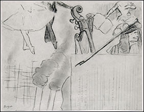 Degas, Program for an Artistic Soiree Stolen from the Short Gallery. Charcoal on white paper, 24.1 x 30.9 cm. More information at the FBI Art Theft Program website.