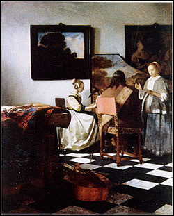 Vermeer, The Concert Stolen from the Durch Room. Oil on canvas, 72.5 x 64.7 cm. More information at the FBI Art Theft Program website.