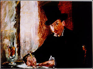 Manet, Chez Tortoni Stolen from the Blue Room. Oil on canvas, 26 x 34 cm. More information at the FBI Art Theft Program website.