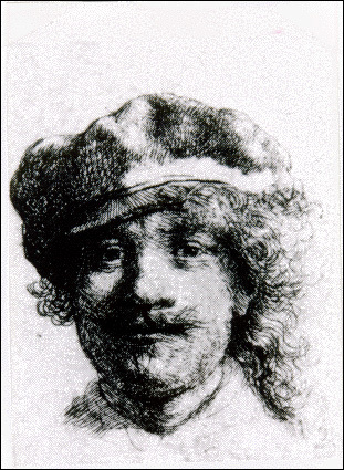 Rembrandt, self portrait Stolen from the Dutch Room. Etching, 1 3/4' x 2', (Postage Stamp size) More information at the FBI Art Theft Program website.