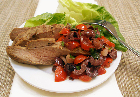 Grilled lamb with olive-tomato relish