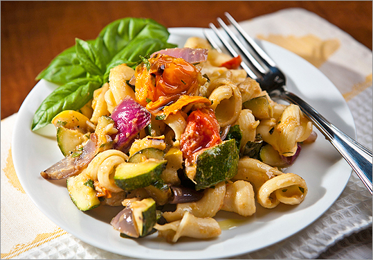 Grilled-vegetable pasta salad