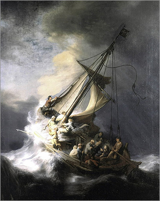 The stolen works include (pictured) Rembrandt's 'The Storm on the Sea of Galilee,' Vermeer's 'The Concert,' and Manet's 'Chez Tortoni.'