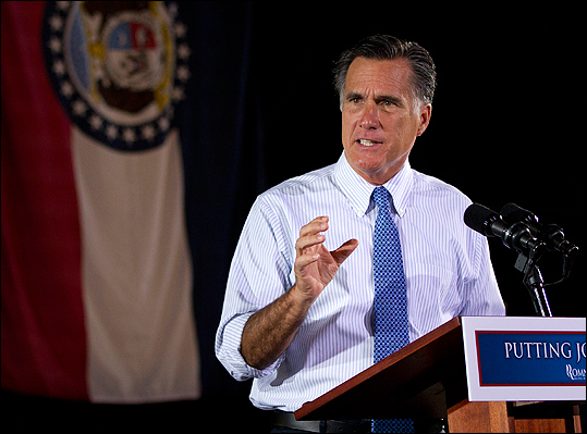 Republican presidential candidate, former Massachusetts Gov. Mitt Romney, talks during a campaign stop in St. Louis, Mo.