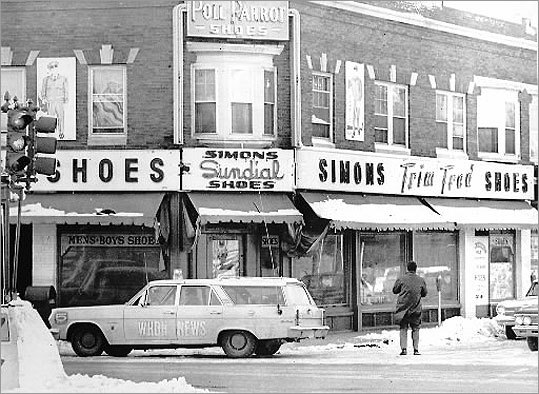 This Feb. 25, 1967, photo shows Simon's Uniform store in West Lynn where DeSalvo was captured some 30 hours after he escaped from Bridgewater State Hospital.