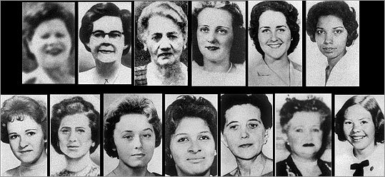 The victims The Boston Strangler was thought to have killed 13 women between 1962 and early 1964. Most of the victims were strangled with stockings or other pieces of clothing or bed linen and many were sexually assaulted. One victim was choked to death by the suspect's bare hands. The victims ranged in age, but most were older women who lived alone. The following slides highlight some of the Boston Strangler's victims.