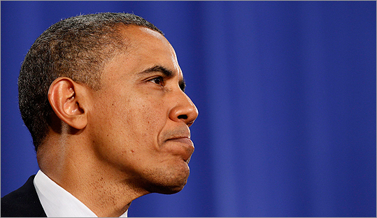 President Barack Obama pauses while speaking at a campaign event at Cuyahoga Community College in Cleveland, Ohio on June 14.