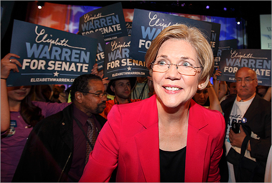Elizabeth Warren walked through a crowd of supporters at the Democratic State Convention in Springfield, Mass. on June 2.