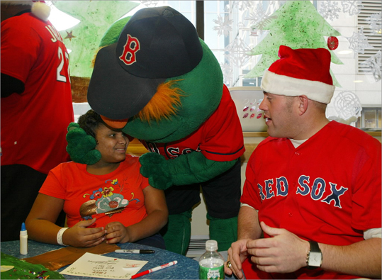 2005 Youkilis would later form his charity Youk's Kids , but even early in his career the year round Boston resident was giving back. Here in the winter of 2005 he was at the Dana-Farber Cancer Institute, with patient Genesis Pizarro from New Bedford and mascot Wally the Green Monster.