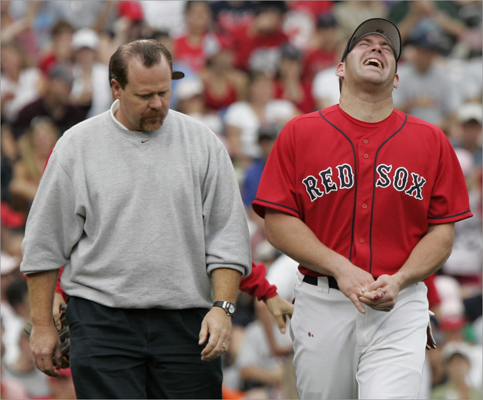 2005 Youkilis has been no stranger to injuries over the years. In this photo he grimaced after fracturing his ring finger fielding a ground ball. The injury kept him out of the lineup for the last month of the 2005 season, which he ended with 44 games, 79 at bats, and a .260 batting average.