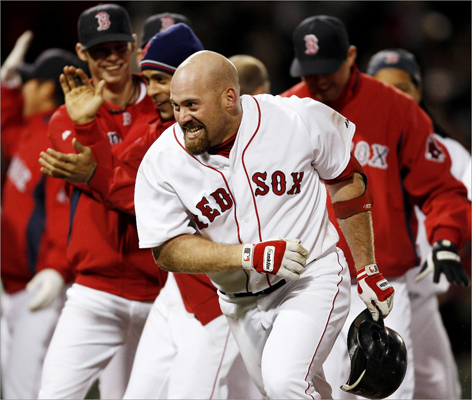 2008 Youkilis has a flair for the dramatic, including a game-winning single in the bottom of the ninth inning of their 1-0 win over the Toronto Blue Jays in April 2008. He went on to earn the 2008 Hank Aaron Award, presented to most outstanding offensive performer in the American League. It was a career year for Youkilis, hitting .312 with 115 RBI and a .958 OPS. He was an All-Star and third in MVP voting.