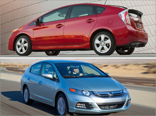 The top car in each composite is the first choice in each question. Which car has better fuel economy?