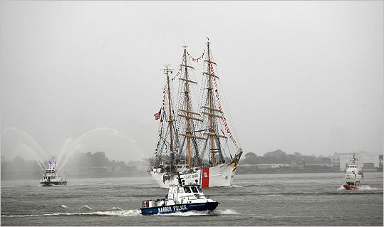 The US Coast Guard Cutter Eagle sails into Boston Harbor today.