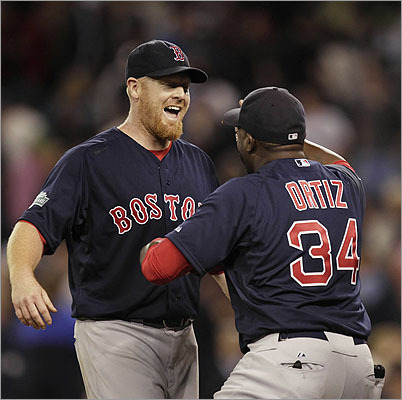 David Ortiz congratulated Red Sox starter Aaron Cook after his two-hit shutout Friday night.