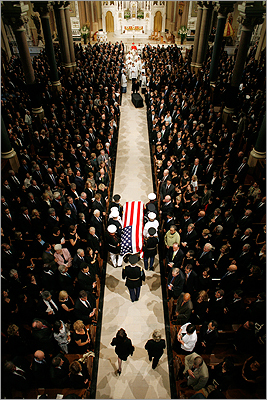 "About 1,500 people attended the funeral Mass for Sen. Edward M. Kennedy at Boston's Basilica of Our Lady of Perpetual Help: folks from President Obama to former President George W. Bush and former Gov. Mitt Romney, a one-time electoral rival. Kennedy was 'a champion for those who had none, the soul of the Democratic party,"" Obama said. His body was later flown to Washington, D.C., for burial at Arlington National Cemetery, next to his fallen brothers. At left: A Marine Corps honor guard carried Sen. Edward M. Kennedy's casket toward the church altar. Read more: At funeral Mass, Obama hails Kennedy as kind, tender hero"