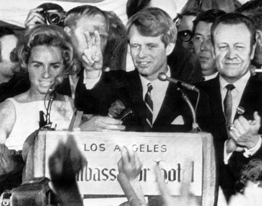 Kennedy, then a US senator representing New York, was celebrating his victory in California's Democratic presidential primary when he was shot just after midnight June 5, 1968, in Los Angeles' Ambassador Hotel by Sirhan Sirhan. Kennedy, 42, was rushed to a nearby hospital and taken into surgery, but he died early the next day. At left: Kennedy celebrates his California primary victory as he speaks to campaign workers, moments before he was shot.