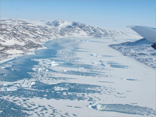 A frozen fjord was seen along northeast coast of Greenland from the P-3 aircraft on May 14.