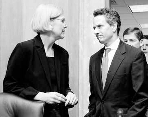Timothy Geithner (above right) never quite got the hang of it when it came to testifying in front of Elizabeth Warren, who chided the Treasury secretary for taking up too much time.
