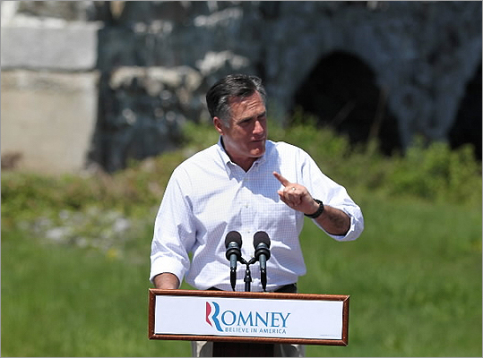 Republican presidential hopeful Mitt Romney at a campaign event.