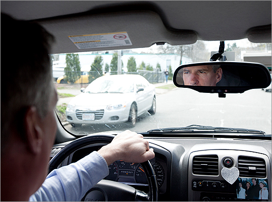 Senator Scott Brown drives through Wakefield, the center of a turbulent childhood that included 17 moves.