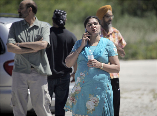 Family members waited outside the Sikh temple. Wisconsin authorities had responded with a dozen ambulances and tactical units.