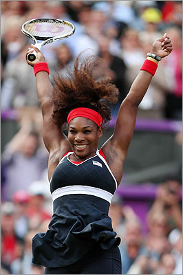 American Serena Williams reacted after defeating Maria Sharapova of Russia to win the gold medal match of the Women's Singles Tennis at the London 2012 Olympic Games on Aug. 4.