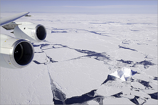 NASA's IceBridge team flies over the Antartic's Bellinghausen Sea in a DC-8 airliner on Oct. 23, 2011.