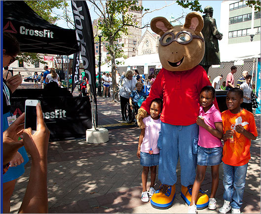 WGBH characters, including Arthur, were around on Saturday morning to take photos with young fans.