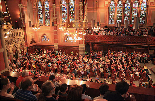 Due to Sunday's rain, Alison Balsom and the Landmark Orchestra played in the historic Old South Church.