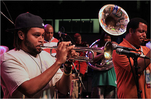 Members of Soul Rebels perform on Saturday.