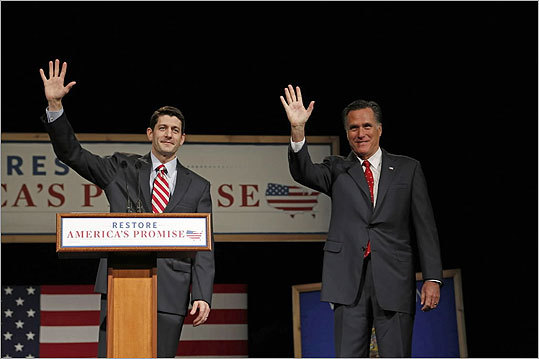 Republican presidential candidate Mitt Romney has picked Wisconsin congressman Paul Ryan to be his running mate . Pictured, House Budget Chairman Paul Ryan (left) with Romney at Lawrence University in Appleton, Wisconsin, in March.