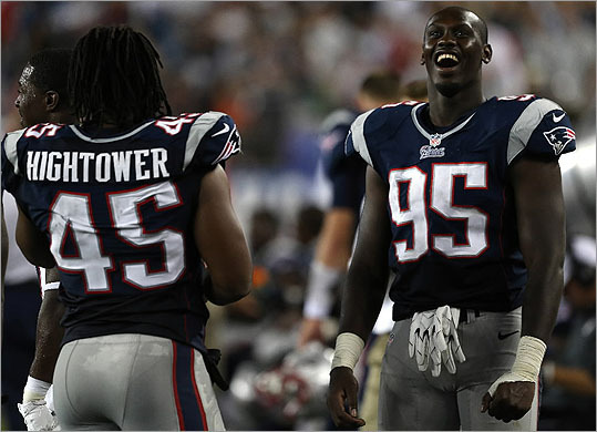 Rookie Chandler Jones (right) has sped to the head of the class with his pass-rushing skills.