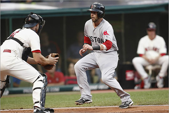 Indians catcher Lou Marson was ready and waiting when Dustin Pedroia tried to score in the fourth inning.