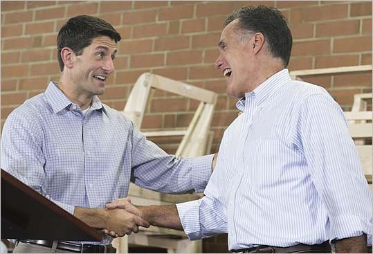 New Vice Presidential candidate Paul Ryan greeted Mitt Romney during a campaign rally in High Point, N.C., on Aug. 12.