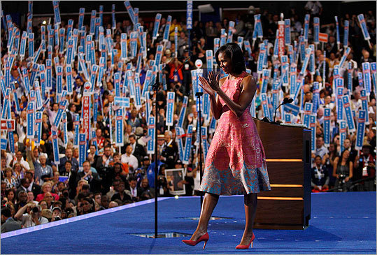 Michelle Obama stepped out in a two-toned dress by Tracy Reese and pink J. Crew pumps at the Democratic National Convention in Charlotte, N.C., on Sept. 4, where she addressed delegates in a prime-time speech .
