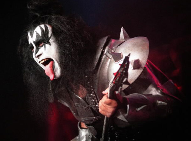 Gene Simmons of Kiss performs his trademark tongue flip in this Oct. 31, 1998 file photo