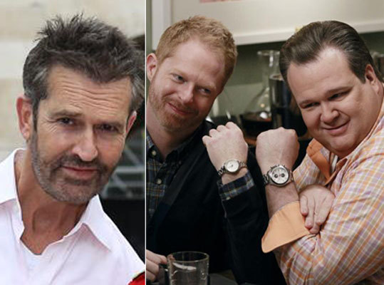 "British gay actor Rupert Everett, left, made the comments about same-sex parenting to the Sunday Times Magazine. Pictured, right, is Jesse Tyler Ferguson and Eric Stonestreet, who play gay dads on the hit comedy ""Modern Family."""