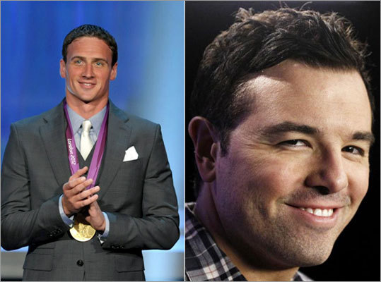 """Family Guy"" creator Seth MacFarlane, right, parodied Olympic gold medalist swimmer Ryan Lochte, left, on the season premiere of ""Saturday Night Live."" He portrayed Lochte as a dopey guy who misprounounced simple words and held up two hands when counting to three. Lochte told Celebuzz, ""he pegged me wrong."""