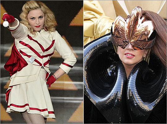 "If you guessed Madonna , you were right. Madonna, left, was singing the praises of fellow singer and shocker Lady Gaga, right, to her audience in Atlantic City. But couldn't resist the urge to ""zing"" her with a backhanded compliment, says Entertainment Weekly."