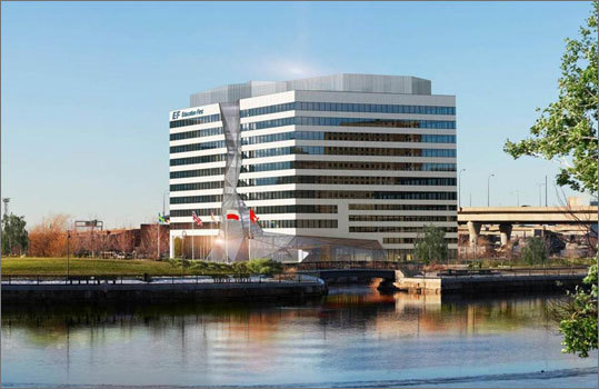 EF Education First building In architectural renderings, the building about to rise next to the Zakim Bridge is designed to look like a massive waterfall, with a jagged column of glass cascading along the middle of its facade. The building is the latest creation of EF Education First, a company that offers academic classes and programs around the world. The $125 million construction project will more than double the company's Cambridge campus and bring new momentum to the development of NorthPoint, a multibillion-dollar effort to build a minicity on 45 acres of former industrial land at the intersection of Boston, Cambridge, and Somerville.