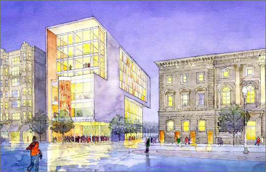 New England Conservatory New England Conservatory released designs of its first major expansion in five decades: a pair of modern glass buildings that would shake up a dated section of the Fenway. The buildings would add transparent facades to put daily music performances on full public display. The centerpiece is an $85 million building on St. Botolph Street that would include student residences, a theater, a new library and dining hall, and jazz and orchestral chambers. The two new buildings would add 200,000 square feet of space to the school's campus. The design of each building needs to be approved before construction can begin.
