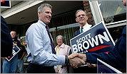 Brown touts Senate vote analysis to bolster bipartisan credentials