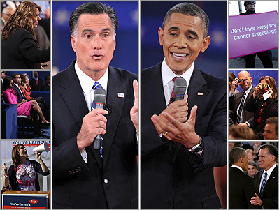 Scenes from the second presidential debate