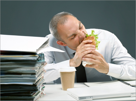 What percentage of employees eat lunch at their desk every day? Correct! This answer is incorrect. Please try again. 39 45 51