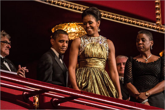 Michelle Obama glowed in a gold lamé Michael Kors dress at the 2012 Kennedy Center Honors in Washington, D.C., on Dec. 2. Read more .