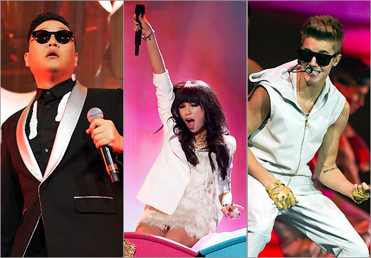 From left: PSY, Carly Rae Jepson, and Justin Bieber