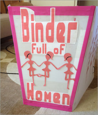 Binders full of women Don't put baby in a binder, Romney. The Web latched on to Romney's comment from the second presidential debate that he 'went to a number of women's groups and said, 'Can you help us find folks,' and they brought us whole binders full of women.'