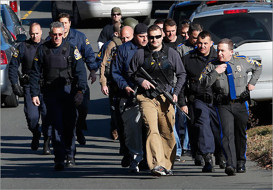 A scene at a school shooting in Connecticut